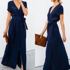 Honey Punch Navy Textured Maxi Dress